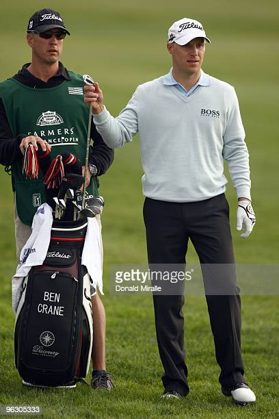 Ben Crane prepares for his shot on the 18th fairway en route to his 13 under par victory during the final round of the 2010 Farmers Insurance Open on...