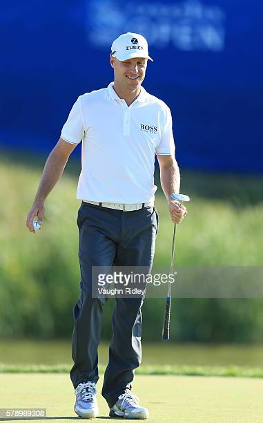 Ben Crane smiles walking off the 18th green during the second round of the RBC Canadian Open at Glen Abbey Golf Club on July 22 2016 in Oakville...