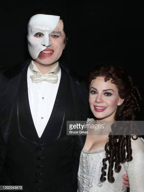 Ben Crawford as the Phantom and Meghan Picerno as Christine Daae pose backstage at the 32nd Anniversary Performance and Party for The Phantom of The...