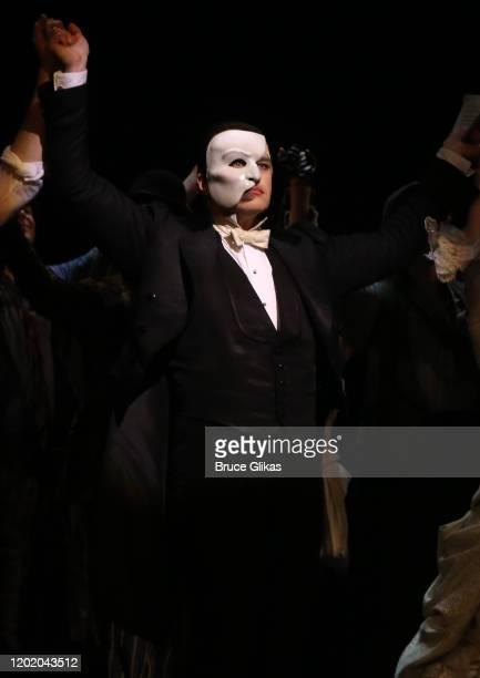 Ben Crawford as the Phantom during the 32nd Anniversary Performance curtain call for The Phantom of The Opera on Broadway at The Majestic Theatre on...