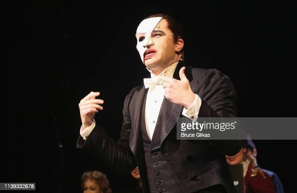 """Ben Crawford as """"The Phantom"""" makes a speech as """"The Phantom of the Opera"""" celebrates 13,000 Performances on Broadway at The Majestic Theatre on..."""