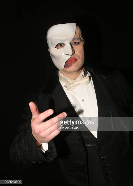 Ben Crawford as the Phantom poses backstage at the 32nd Anniversary Performance and Party for The Phantom of The Opera on Broadway at The Majestic...
