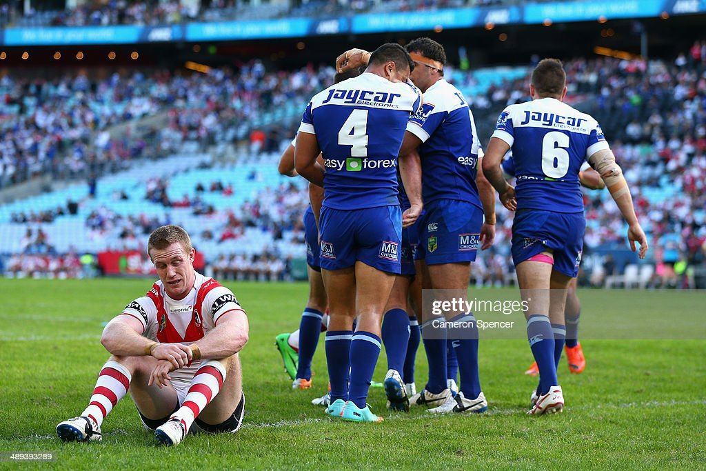 Ben Creagh of the Dragons looks dejected after a try by Tim Lafai of the Bulldogs during the round nine NRL match between the St George Illawarra Dragons and the Canterbury-Bankstown Bulldogs at ANZ Stadium on May 11, 2014 in Sydney, Australia.