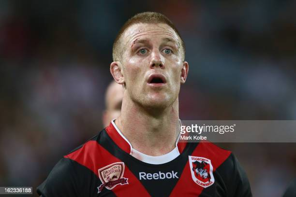 Ben Creagh of the Dragons shows his frustration as he speaks to the refereeduring the NRL Charity Shield match between the South Sydney Rabbitohs and...