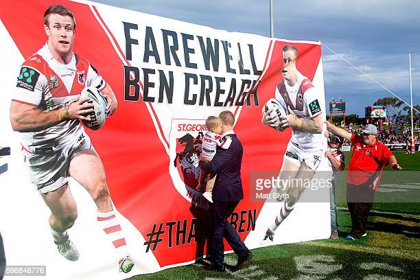 Ben Creagh of the Dragons walks onto the field before the round 26 NRL match between the St George Illawarra Dragons and the Newcastle Knights at WIN...