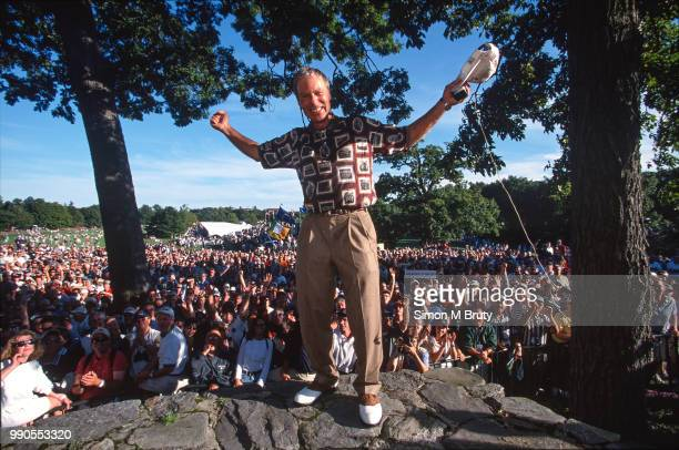 Ben Crenshaw, captain of the USA team celebrates after his team wins the Ryder Cup at The Country Club on the September 26, 1999 in Brookline,...