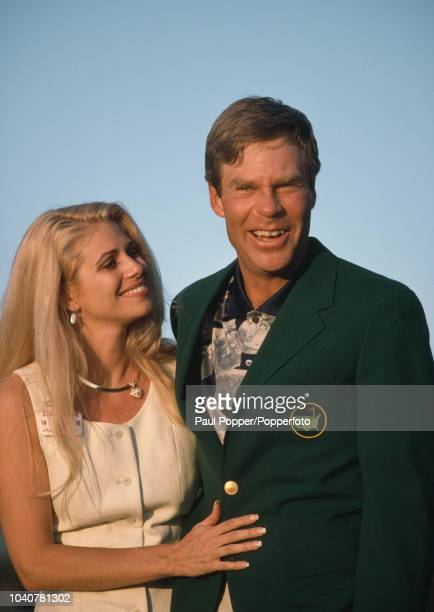 Ben Crenshaw of the United States with his wife Julie following his victory in the US Masters Golf Tournament held at The Augusta National Golf Club...