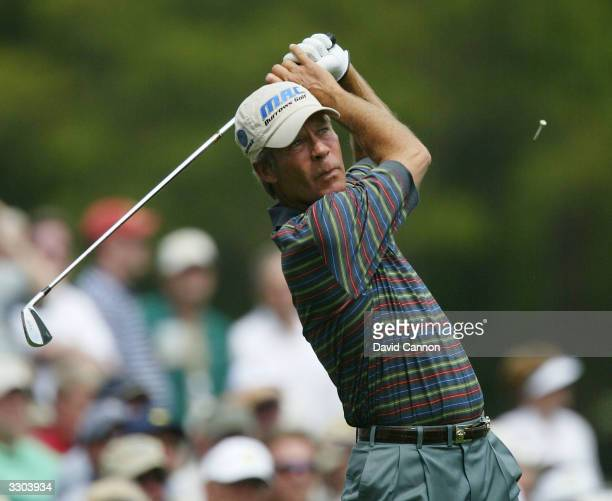 Ben Crenshaw of the USA plays his tee shot on the 12th hole during the second round of the Masters at the Augusta National Golf Club on April 9 2004...
