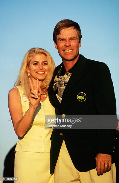 Ben Crenshaw of USA with his wife Julie celebrate victory after the final round of the Masters held at The Augusta National Golf Club on April 9 1995...