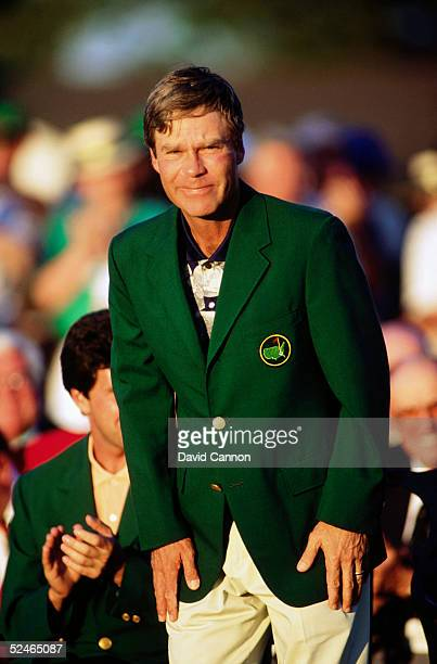 Ben Crenshaw of USA with the green jacket after the final round of the Masters, held at The Augusta National Golf Club on April 9, 1995 in Augusta,...