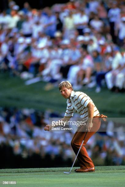 Ben Crenshaw watches a putt go down during the 1984 US Masters tournament in Augusta National Golf Club in Augusta Georgia Crenshaw won the...