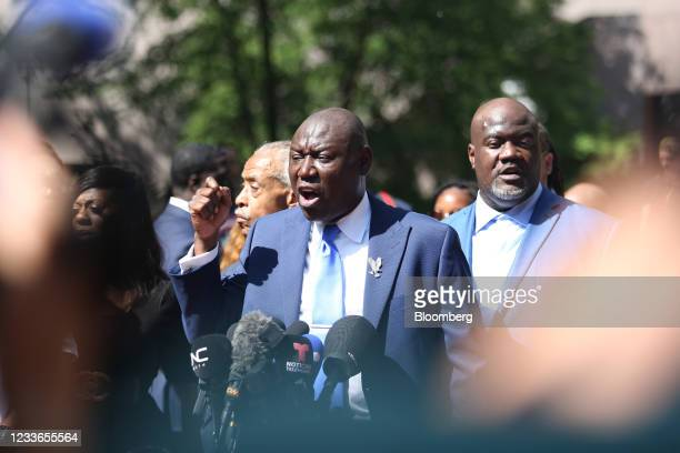 Ben Crump, attorney representing George Floyd's family, center, speaks following the sentencing of former Minneapolis police office Derek Chauvin...
