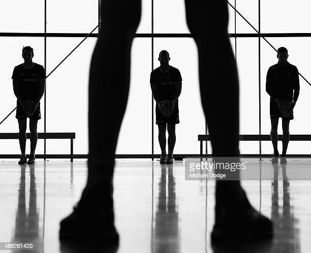 Ben Cunnington looks to kick the ball to the legs of Ben Brown during a North Melbourne Kangaroos AFL media session at Arden Street Ground on...