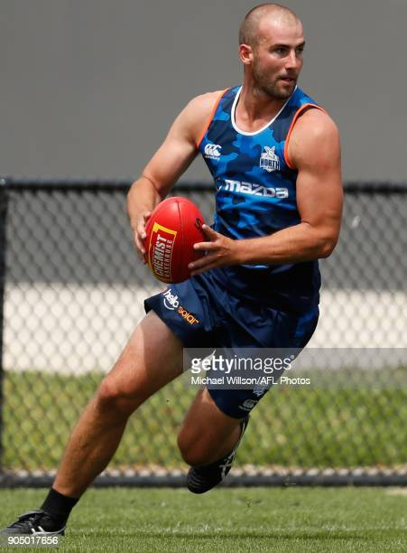 Ben Cunnington of the Kangaroos in action during a North Melbourne Kangaroos Training Session at Arden Street Ground on January 15 2018 in Melbourne...