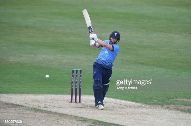Ben Curren of Northamptonshire bats during the Royal London Cup match between Northamptonshire and Glamorgan at The County Ground on July 25, 2021 in...