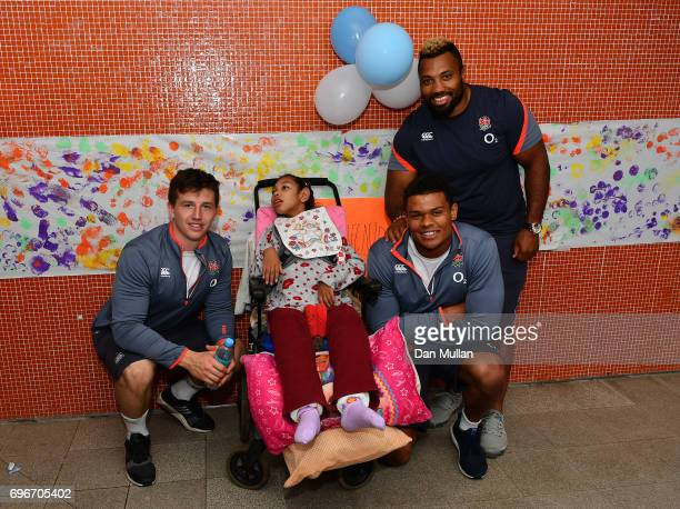 Ben Curry Nathan Earle and Jamal FordRobinson of England pose for a photo during a visit to a local kindergarten on June 16 2017 in Santa Fe Santa Fe