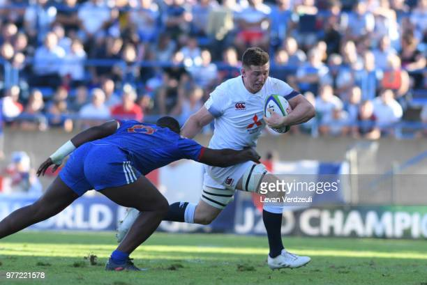 Ben Curry of England runs with ball during the World Rugby Under 20 Championship Final between England and France on June 17 2018 in Beziers France