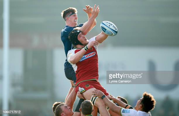 Ben Curry of Sale Sharks loses a line out to Alex Moon of Northampton Saints during the Gallagher Premiership Rugby match between Sale Sharks and...