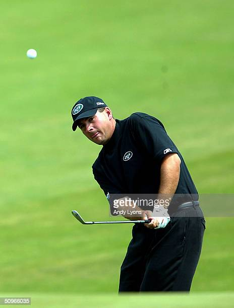 Ben Curtis hits a pitch shot during the third day of practice at the 104th US Open at Shinnecock Hills Golf Club on June 16 2004 in Southampton New...