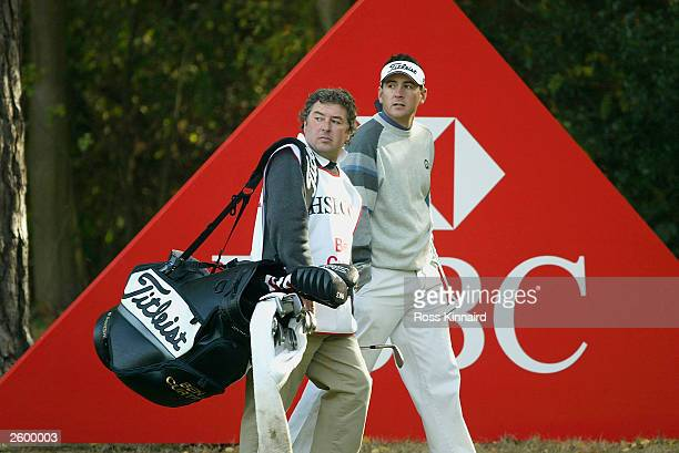 Ben Curtis of United States alongside his caddie Andy Sutton during the Pro-Am day prior to the HSBC World Match Play Championship at Wentworth Golf...