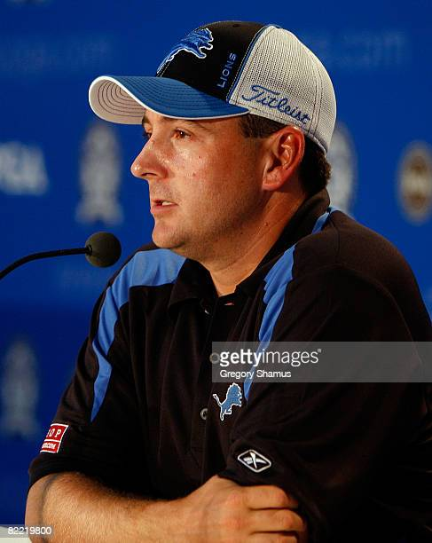 Ben Curtis talks to the media during round two of the 90th PGA Championship at Oakland Hills Country Club on August 8 2008 in Bloomfield Township...