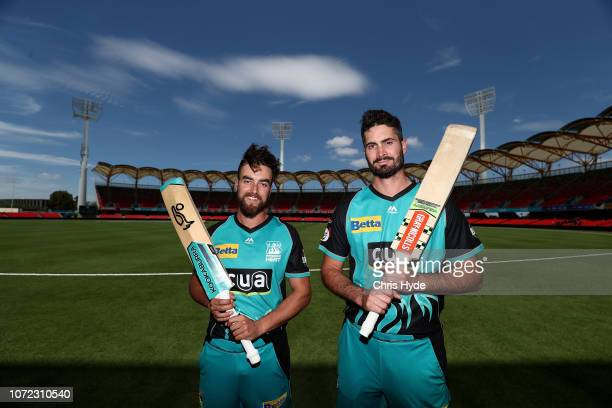 Ben Cutting and Alex Ross pose during a Brisbane Heat BBL media opportunity at Metricon Stadium on December 13 2018 in Gold Coast Australia