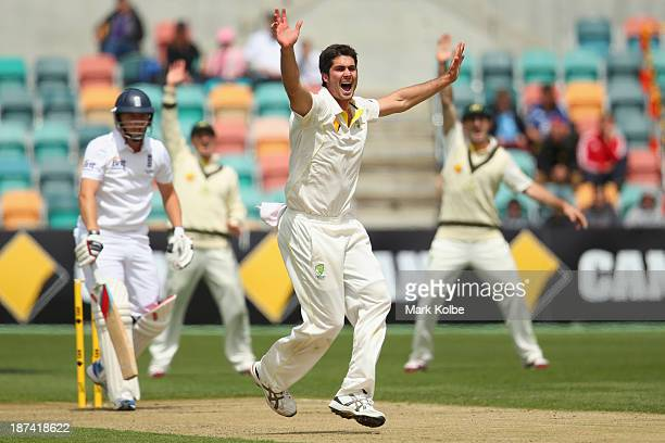 Ben Cutting of Australia A appeals successfully for the wicket of Gary Ballance of England during day four of the tour match between Australia A and...