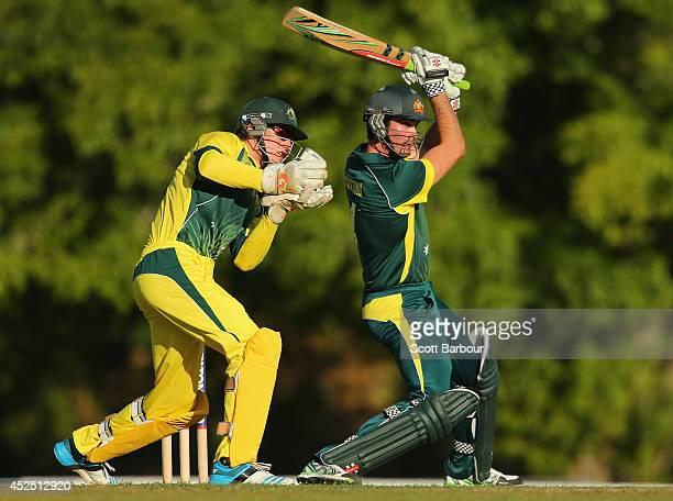 Ben Cutting of Australia A bats as Cameron Bancroft of the Cricket Australia National Performance Squad looks on during the Quadrangular Series match...