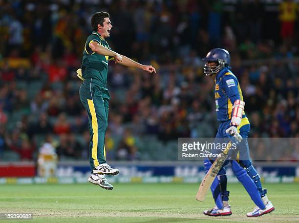 Ben Cutting of Australia celebrates taking the wicket of Tillakaratne Dilshan of Sri Lanka during game two of the Commonwealth Bank One Day...