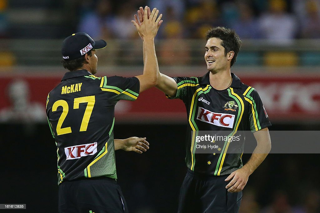 Ben Cutting of Australia celebrates with team mates after Darren Bravo of West Indies is run out during the International Twenty20 match between Australia and the West Indies at The Gabba on February 13, 2013 in Brisbane, Australia.