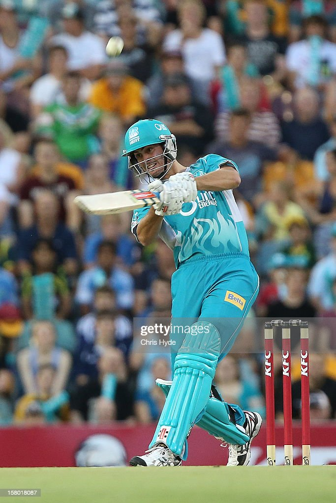 Ben Cutting of the Heat bats during the Big Bash League match between the Brisbane Heat and the Hobart Hurricanes at The Gabba on December 9, 2012 in Brisbane, Australia.