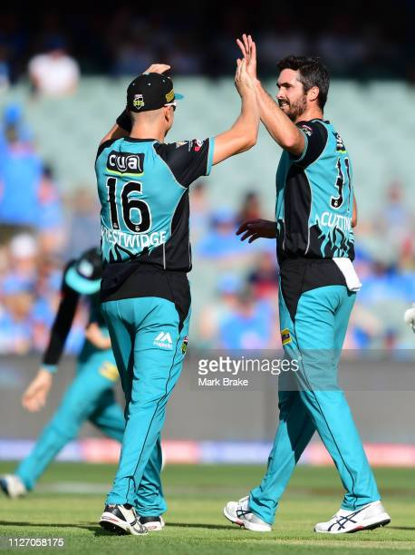 Ben Cutting of the Heat celebrates after taking the wicket of Alex Carey of the Adelaide Strikers with Jack Prestwidge of the Heat during the Big...