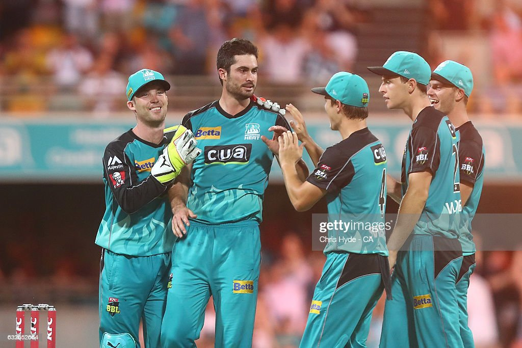 Ben Cutting of the Heat celebrates dismissing Johan Botha of the Sixers during the Big Bash League semi final match between the Brisbane Heat and the Sydney Sixers at the The Gabba on January 25, 2017 in Brisbane, Australia.