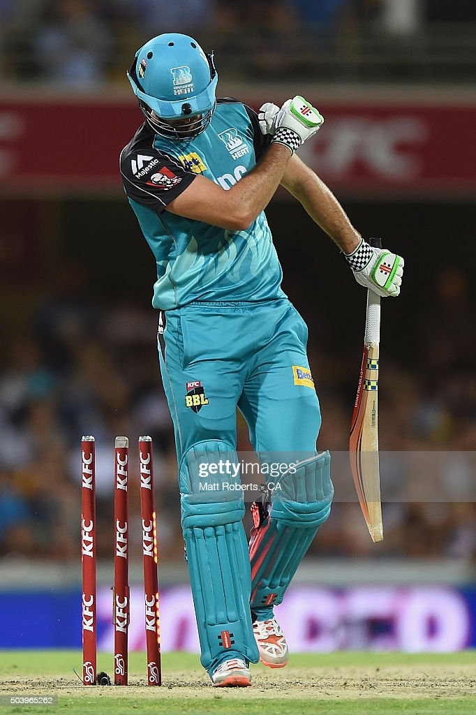 Ben Cutting of the Heat reacts after being bowled during the Big Bash League match between the Brisbane Heat and the Adelaide Strikers at The Gabba on January 8, 2016 in Brisbane, Australia.