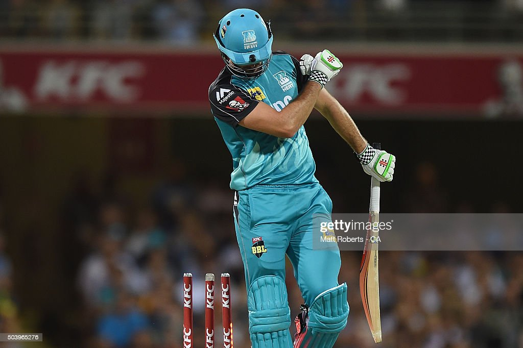 Ben Cutting of the Heat reacts after being dismissed during the Big Bash League match between the Brisbane Heat and the Adelaide Strikers at The Gabba on January 8, 2016 in Brisbane, Australia.