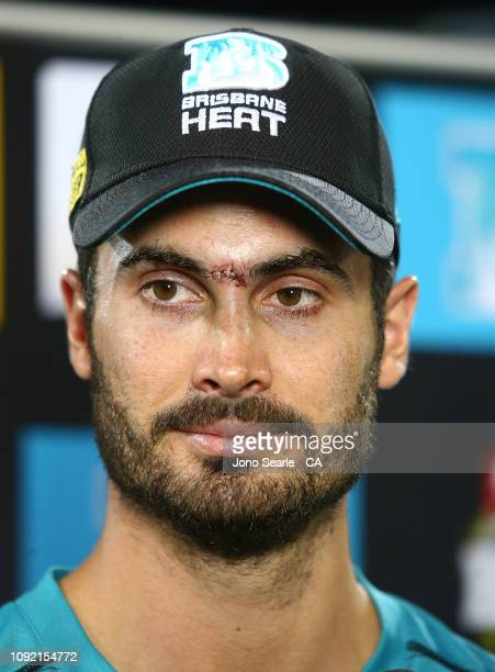 Ben Cutting of the Heat talks to media after the loss during the Big Bash League match between the Brisbane Heat and the Melbourne Renegades at The...