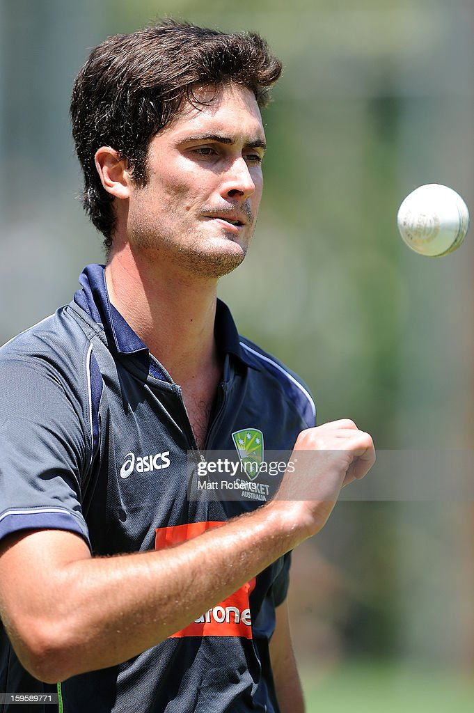 Ben Cutting prepares to bowl during an Australian training session at The Gabba on January 17, 2013 in Brisbane, Australia.