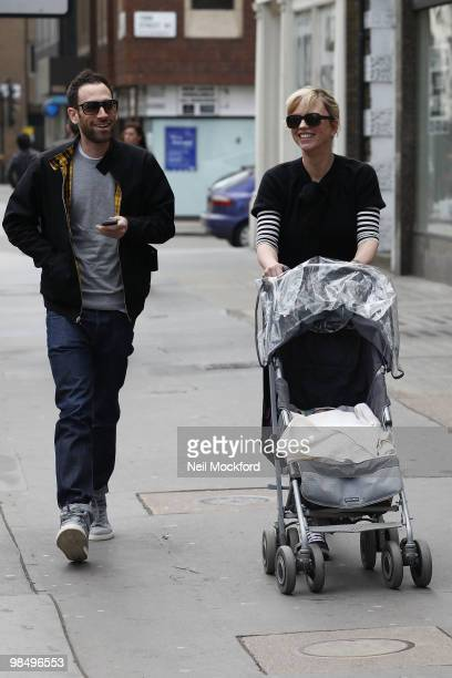 Ben Cyzer and Sara Cox Sighted with their new baby Renee on April 16 2010 in London England