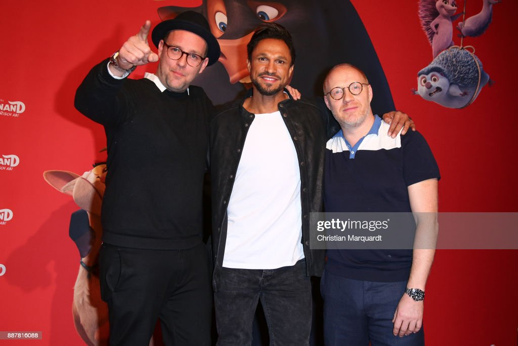 Ben, Daniel Aminati and Simon Schwarz attend the premiere of 'Ferdinand - Geht STIERisch ab!' at Zoo Palast on December 7, 2017 in Berlin, Germany.