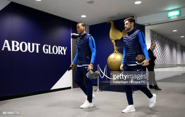 Ben Davies and Michel Vorm of Tottenham Hotspur arrive during the Premier League match between Tottenham Hotspur and Brighton and Hove Albion at...
