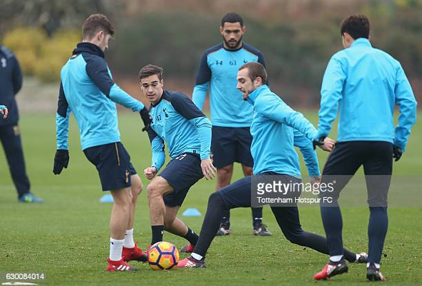 Ben Davies, Harry Winks, Cameron Carter-Vickers, Pau Lopez and Son Heung-min of Tottenham during the Tottenham Hotspur training session at Tottenham...