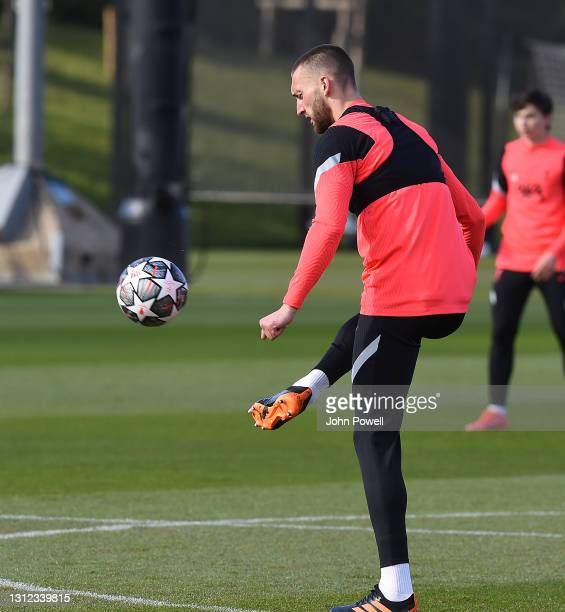 Ben Davies of Liverpool during a training session at AXA Training Centre on April 13, 2021 in Kirkby, England.