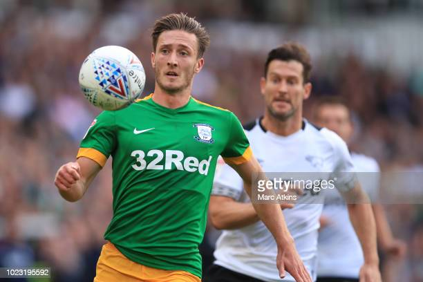 Ben Davies of Preston North End in action with David Nugent of Derby County during the Sky Bet Championship match between Derby County and Preston...