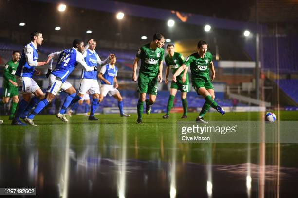 Ben Davies of Preston North End passes the ball during the Sky Bet Championship match between Birmingham City and Preston North End at St Andrew's...