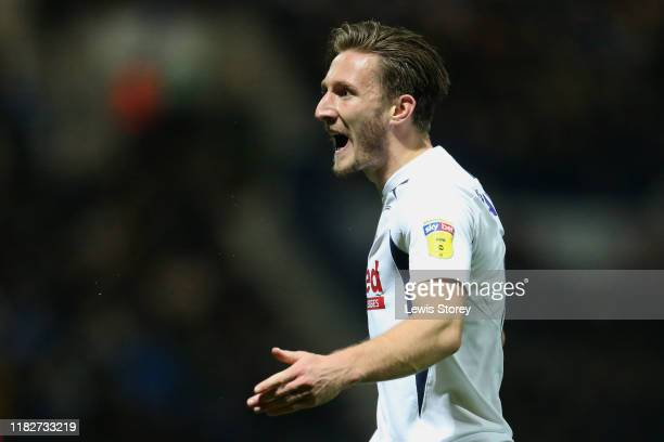 Ben Davies of Preston North End reacts during the Sky Bet Championship match between Preston North End and Leeds United at Deepdale on October 22...