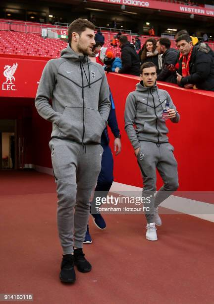 Ben Davies of Tottenham Hotspur and Harry Winks of Tottenham Hotspur take a look around the pitch prior to the Premier League match between Liverpool...