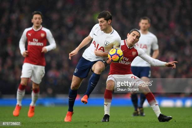 Ben Davies of Tottenham Hotspur and Hector Bellerin of Arsenal in action during the Premier League match between Arsenal and Tottenham Hotspur at...
