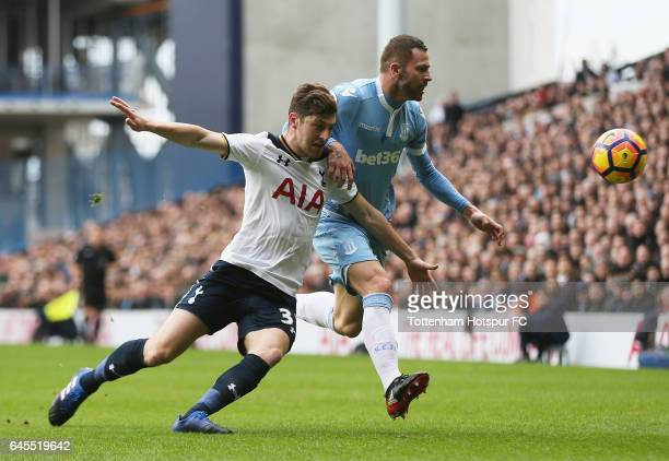 Ben Davies of Tottenham Hotspur and Phil Bardsley of Stoke City challenge for the ball during the Premier League match between Tottenham Hotspur and...