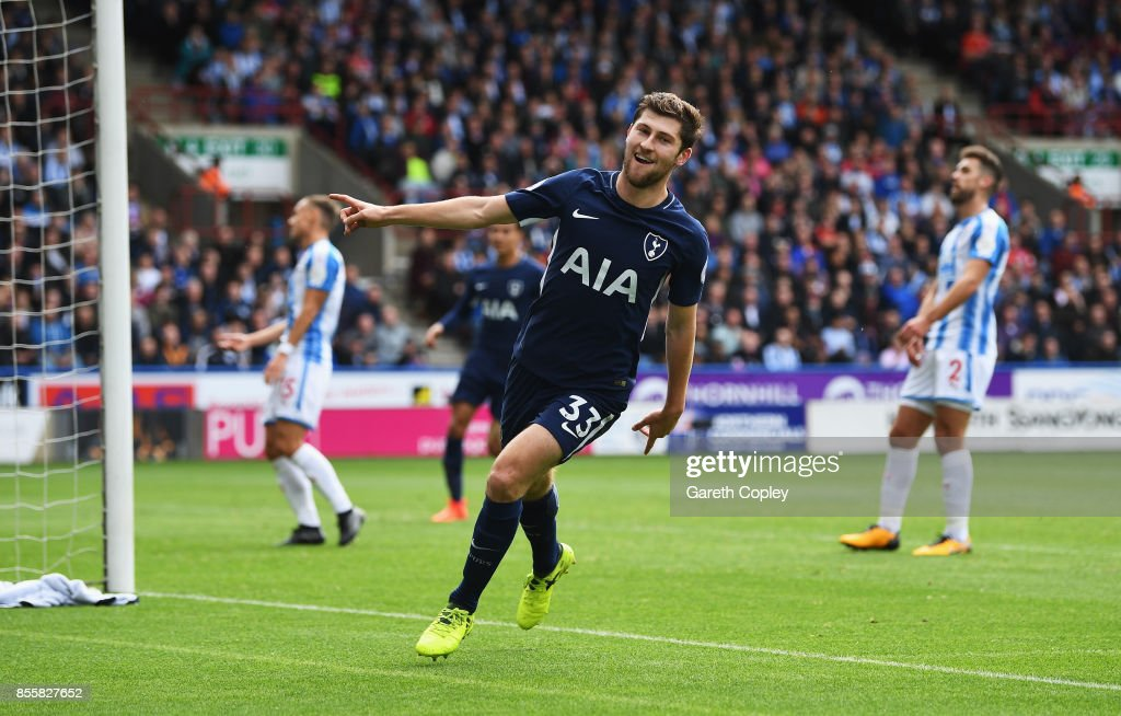 Ben Davies of Tottenham Hotspur celebrates scoring his sides second goal during the Premier League match between Huddersfield Town and Tottenham Hotspur at John Smith's Stadium on September 30, 2017 in Huddersfield, England.