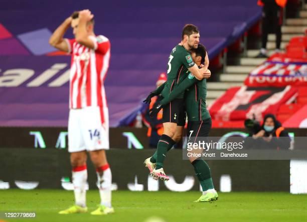 Ben Davies of Tottenham Hotspur celebrates scoring his teams second goal during the Caraboa Cup Quarter Final match between Stoke City and Tottenham...